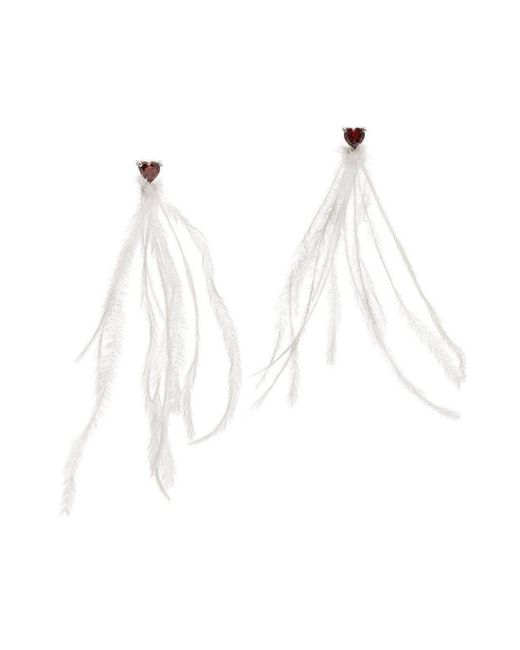 Augustine Jewels - Red Earrings Of Ostrich Feather And Garnet Hearts - Lyst