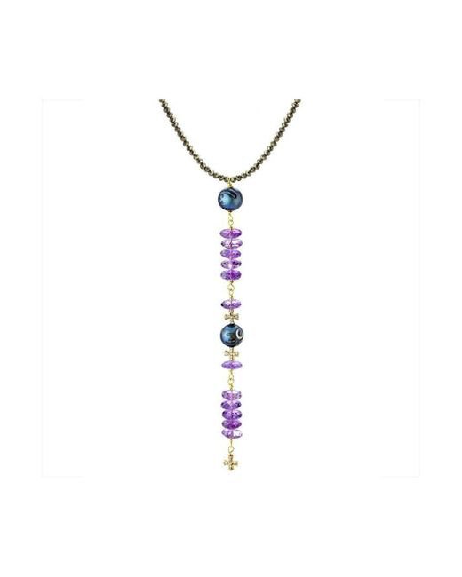 Elisa Ilana Jewelry - Metallic Yellow Gold Pearl & Amethyst Crosses Necklace | - Lyst