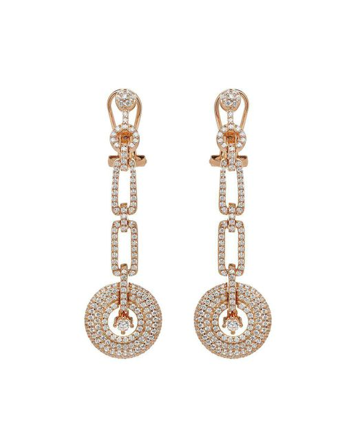 Lustre of London - Metallic Rose Art Deco Drop Earrings - Lyst