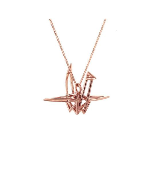 Origami Jewellery - Metallic Sterling Silver & Pink Gold Frame Crane Origami Necklace - Lyst