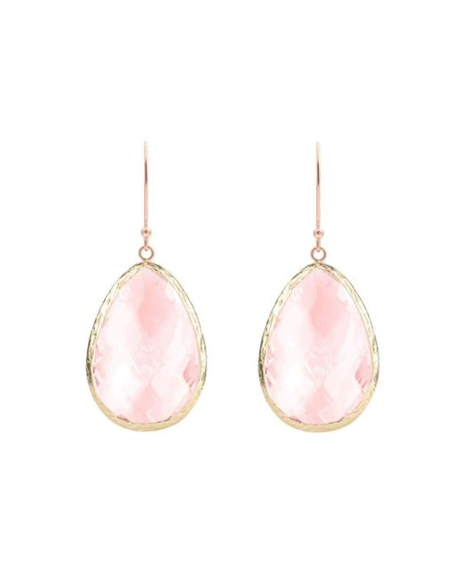 Latelita London Rose Gold Petite Drop Earring Rose Quartz Hydro IHGknwM