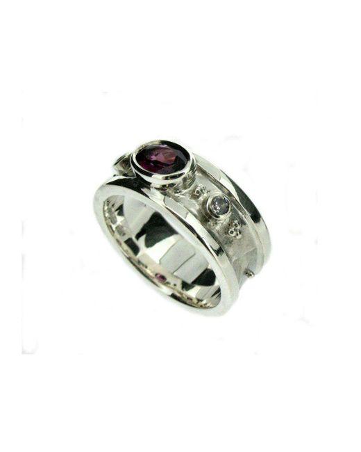 Will Bishop - Metallic White Gold, Garnet & Diamond Ring - Lyst
