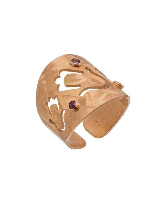 Mishanto London - Multicolor Garnet Veneto Hamsa Ring - Lyst