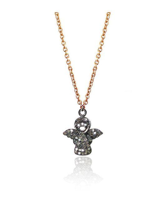 Brandts Jewellery - Metallic Guardian Angel Pavé Diamond Charm Necklace - Lyst