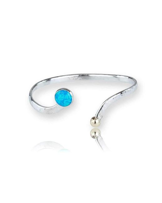 Lavan - Gold And Silver Blue Opal Bangle - Lyst
