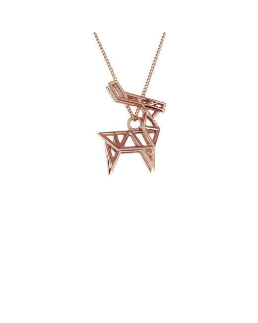 Origami Jewellery - Multicolor Deer Pink Gold Necklace - Lyst