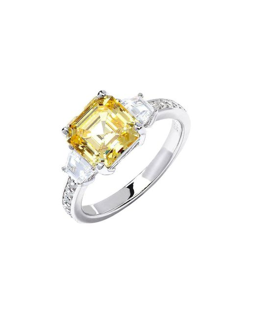 Lustre of London - Metallic Yellow Asscher Cut Engagement Cut Ring - Lyst