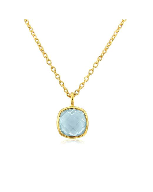 Auree Jewellery - Yellow Gold Plated Brooklyn Blue Topaz Necklace - Lyst
