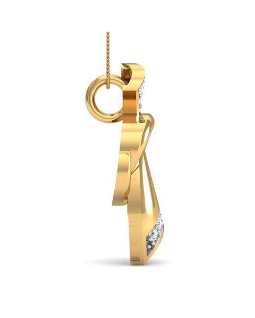 Diamoire Jewels | Metallic 14kt Yellow Gold And 7 Round Cut Diamond Pave Pendant Inspired By Nature | Lyst