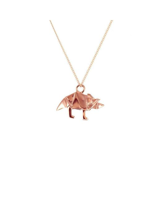 Origami Jewellery - Multicolor Sterling Silver & Pink Gold Mini Triceratop Origami Necklace - Lyst
