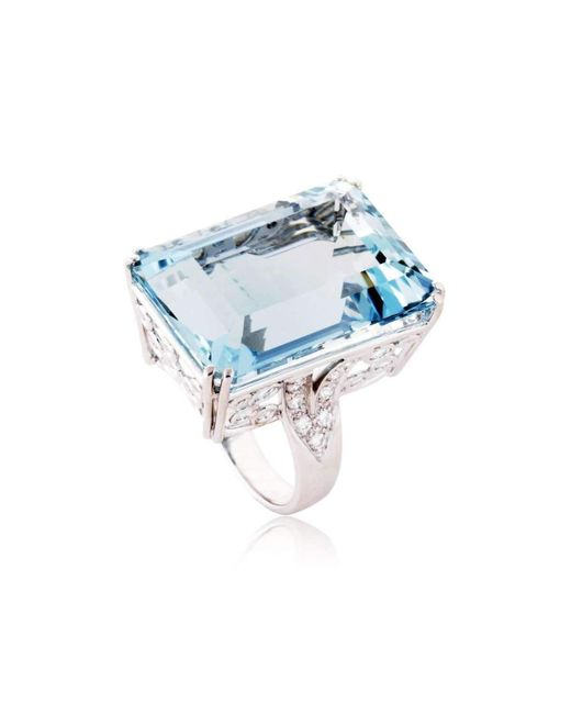 Cherie Thum - Blue Fire And Ice Emerald-cut Aquamarine Ring - Lyst