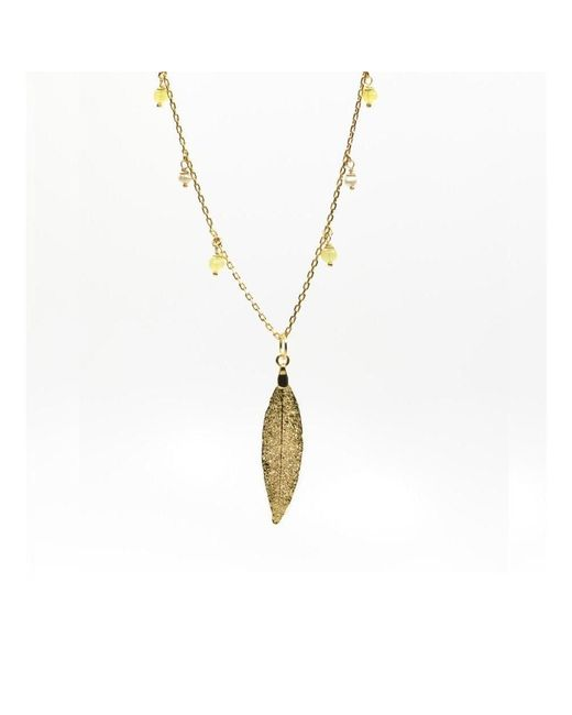 """Amazona Secrets - Metallic 18kt Gold Uvaia Leaf """"little Fruit"""" Necklace With Freshwater Pearl & Yellow Jade - Lyst"""