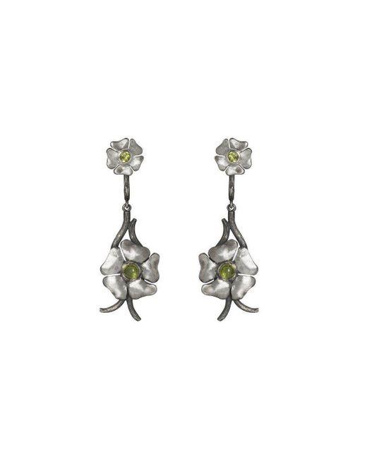 Luke Goldsmith - Metallic Silver Bohemian Peridot Flower Drops - Lyst