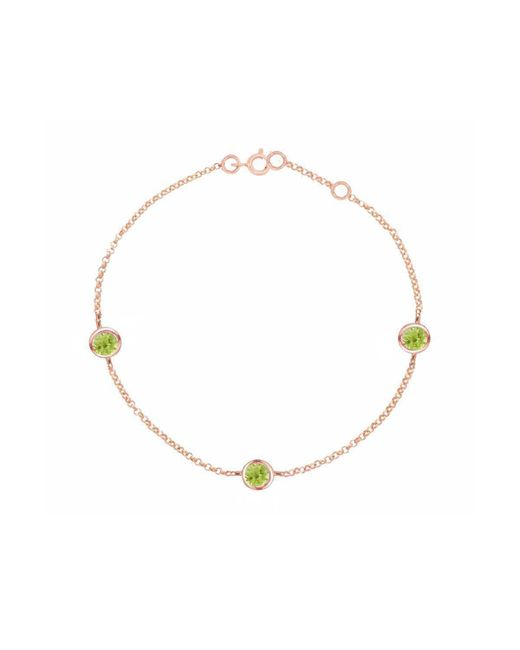 London Road Jewellery - Metallic Stylish Rose Gold Peridot Dew Drop Bracelet - Lyst