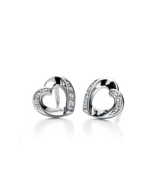 Fiorelli | Metallic Clear Cz Ribbon Heart Earrings | Lyst