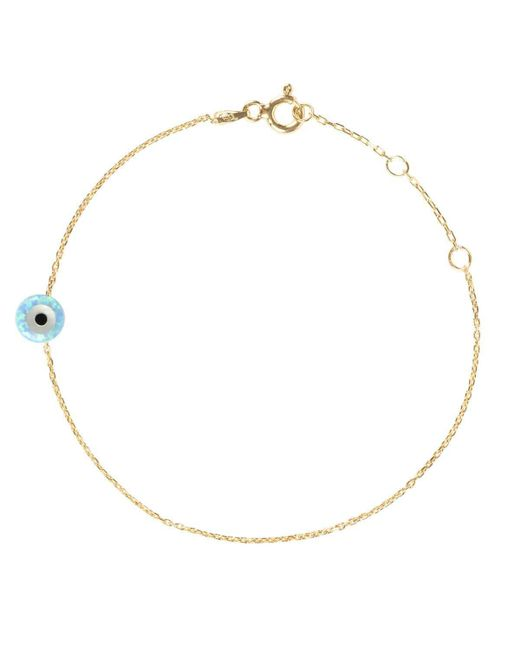 Latelita London - Metallic Yellow Gold Plated Mini Opalite Evil Eye Bracelet - Lyst