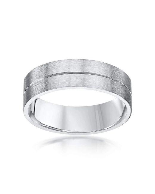 Star Wedding Rings | Black Palladium Flat Court Shape Matt With Polished Groove 6mm Wedding Ring | Lyst