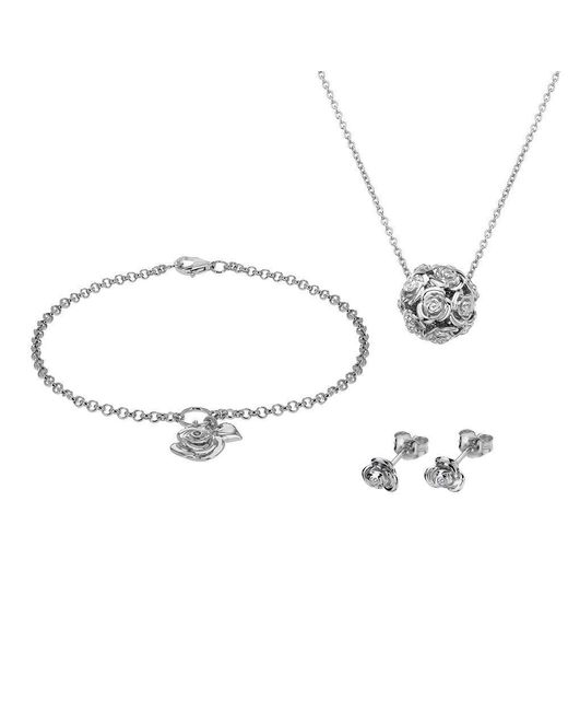 Lily and Lotty - Metallic Rose Necklace, Bracelet & Earrings Set - Lyst