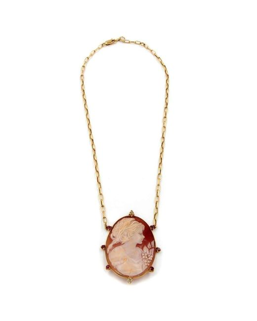 Rina Limor   Multicolor Bold Lady Cameo Pendant Necklace With Red Sapphires   Lyst