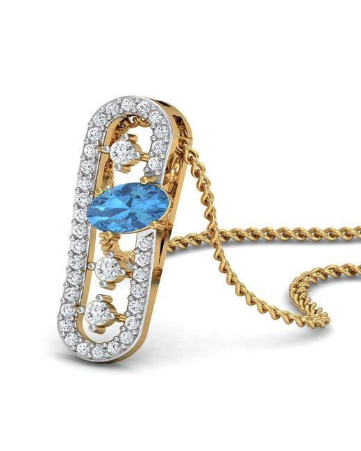 Diamoire Jewels | Metallic Nature Inspired Oval Aquamarine Pendant With Premium Diamonds In 18kt Yellow Gold | Lyst