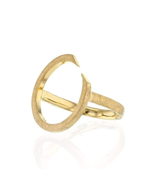 Ilda Design - Metallic Gold Plated Ring With Circling Top - Lyst