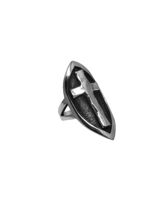 Luke Goldsmith - Metallic Silver Sheild And Cross Ring - Lyst