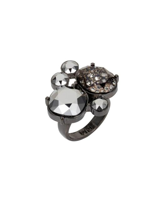 Nadia Minkoff - Metallic Gunmetal Kate Cocktail Ring - Lyst