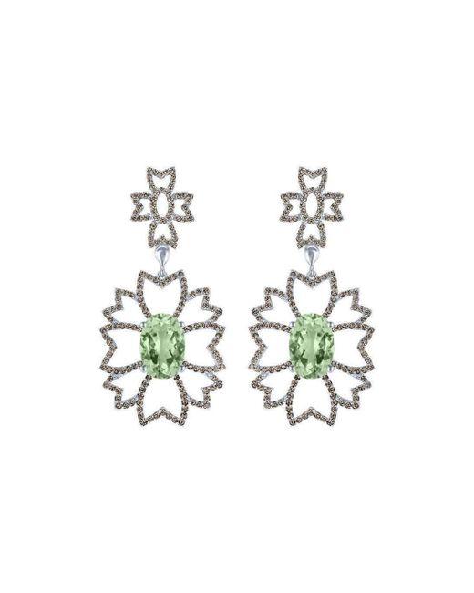 Arya Esha - Metallic Oval Cut Prasiolite And Champagne Diamond Earrings - Lyst