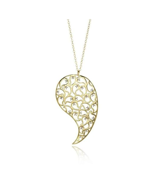 Sonal Bhaskaran - Metallic Jaali Gold Pendant With Clear Cubic Zirconia - Lyst
