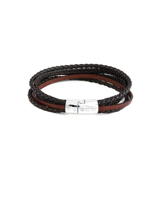 Tateossian - Silver & Brown Leather Multi-strand Cobra Bracelet - Lyst