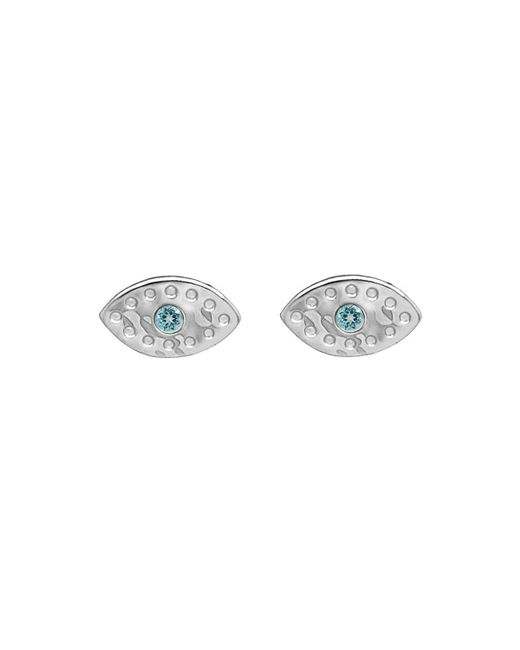 Murkani Jewellery - Blue Sterling Silver & Topaz Evil Eye Stud | - Lyst
