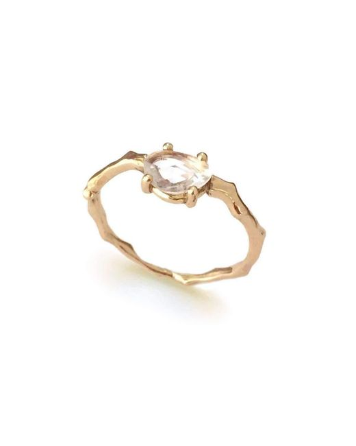 Brandts Jewellery | Metallic Twig Engagement Ring In Gold With White Sapphire | Lyst