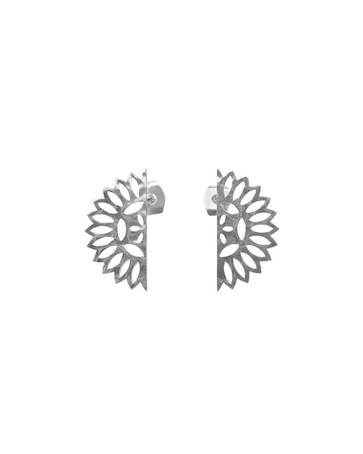 Murkani Jewellery - Metallic Sterling Silver Lace Edge Stud Earrings - Lyst