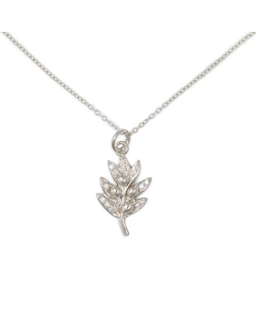 Delicacies Jewelry - Metallic 14kt White Gold Pave Olive Necklace - Lyst