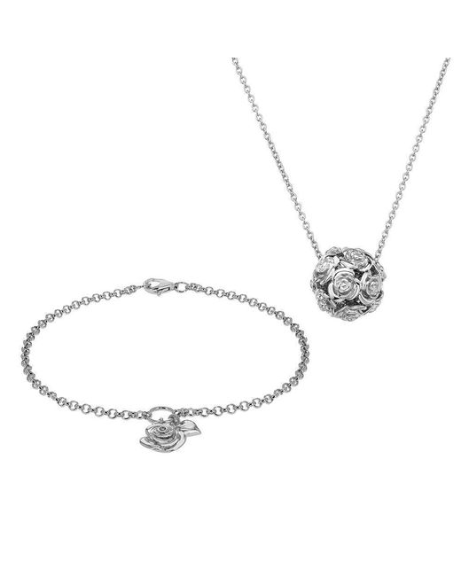 Lily and Lotty - Metallic Rose Bracelet & Necklace Set - Lyst