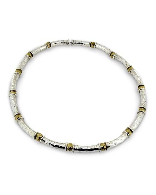 Will Bishop - Metallic Beaten Silver & Gold Tube Necklace - Lyst