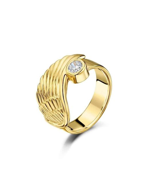 Becky Rowe - Metallic Yellow Gold & Cubic Zirconia Angel Wing Ring | - Lyst