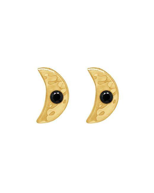 Murkani Jewellery - Multicolor Gold & Black Spinel Crescent Moon Earrings - Lyst