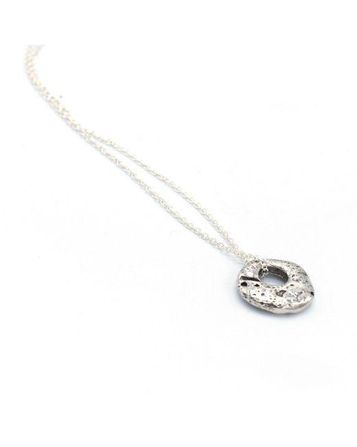Stephanie Gorski Jewelry   Metallic Circle Stone Necklace Silver   Lyst