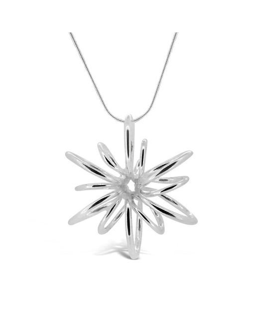 Maree London - Metallic Silver Small Lotus Necklace - Lyst