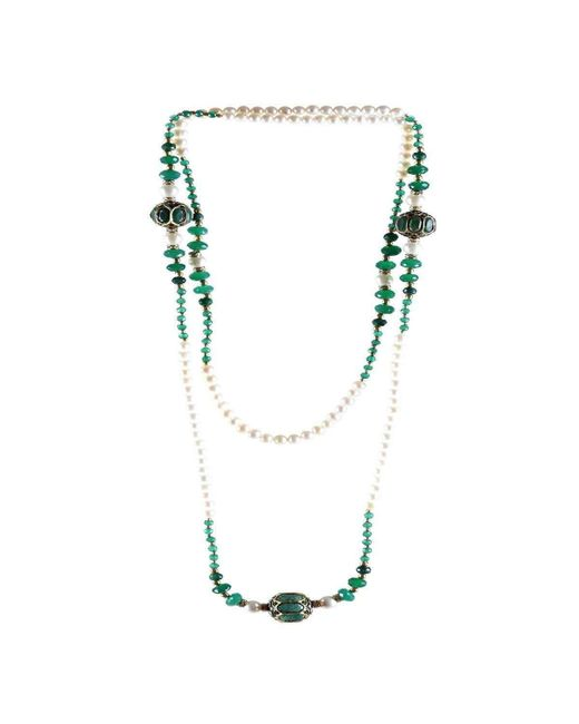 M's Gems by Mamta Valrani - Blue Magnifique Pearl Necklace With Onyx, Diamantes And Beads - Lyst