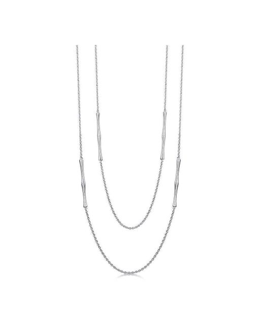 ROX - Diamonds and Thrills - Metallic Bamboo Silver Chain Necklace - Lyst