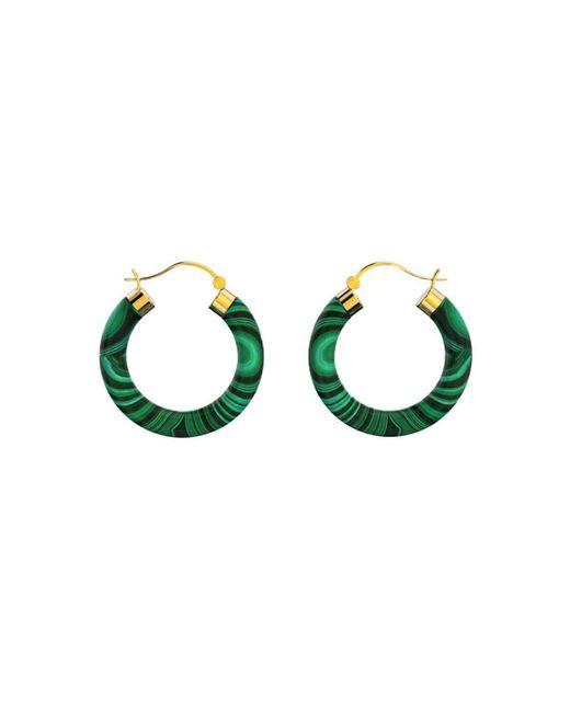 MARCELLO RICCIO - Metallic Yellow Gold Plated Sterling Silver Malachite Earrings - Lyst