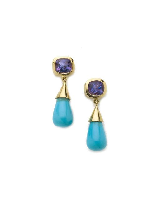 Julia Lloyd George - Blue 18kt Yellow Gold Amethyst And Turquoise Drop Earrings - Lyst