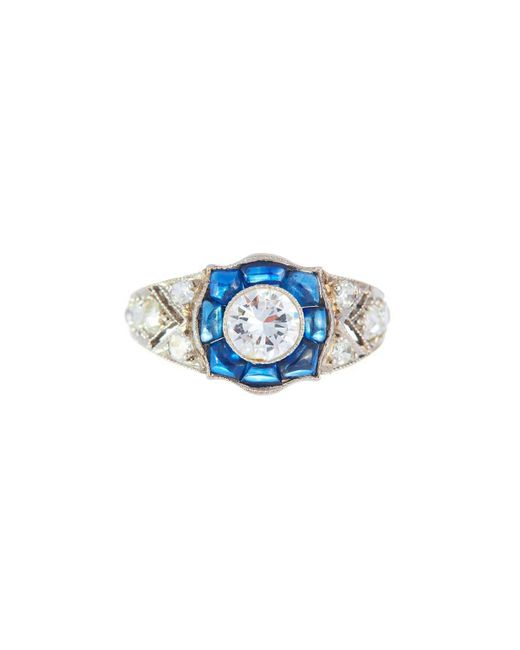 Alexis Danielle Jewelry - Blue Stunning Art Deco Diamond Sapphire Platinum Ring - Lyst