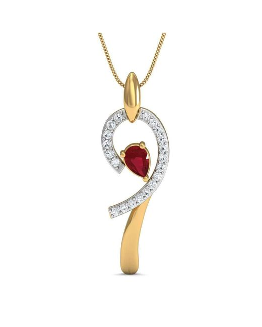 Diamoire Jewels | Metallic Diamond And Pear Cut Ruby Pendant Hand-carved From 10kt Yellow Gold | Lyst