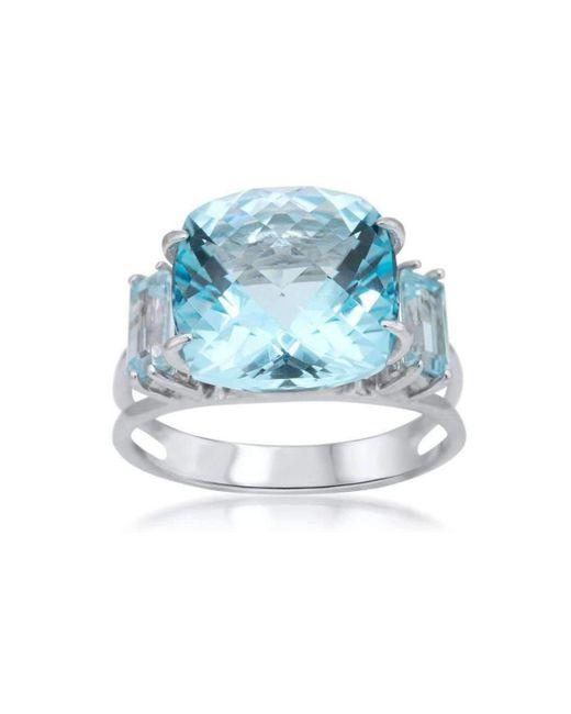 Drukker Designs - Sterling Silver Blue Topaz Baguette Cocktail Ring - Lyst