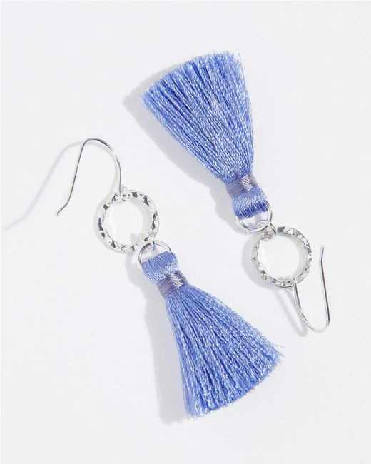 Jigsaw - Purple Hammered Hoop Tassel Earrings - Lyst