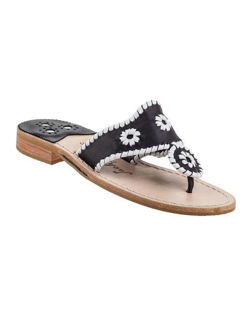 Jack Rogers | Palm Beach Thong Sandal White/black Leather | Lyst
