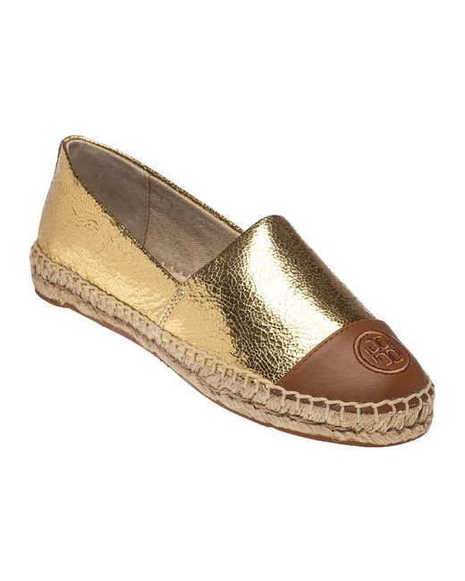 Tory Burch | Metallic Color Block Leather Espadrille Gold / Tan | Lyst
